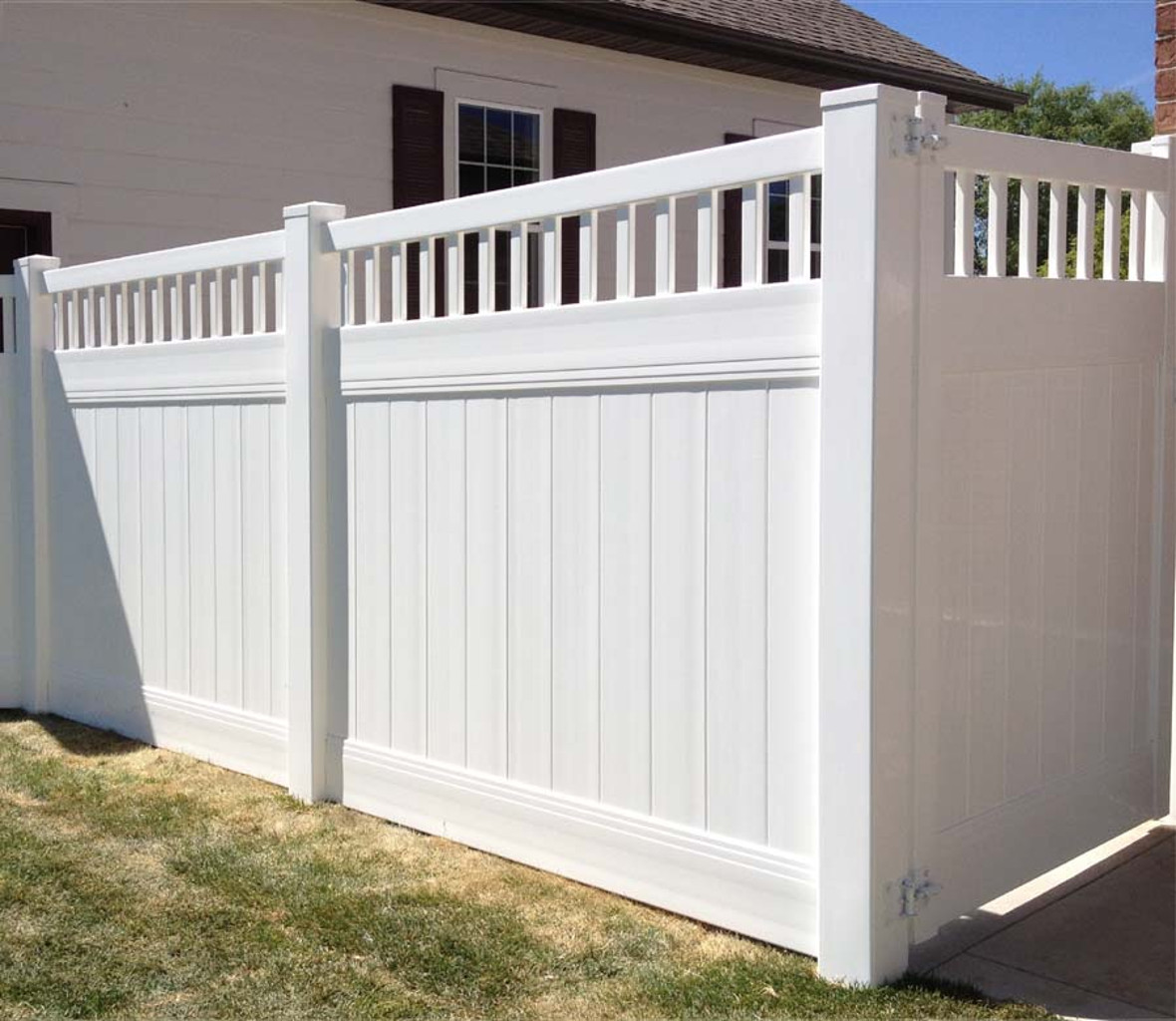 Marvelous photograph of VinylFence Singleton Fence with #30579B color and 1180x1024 pixels