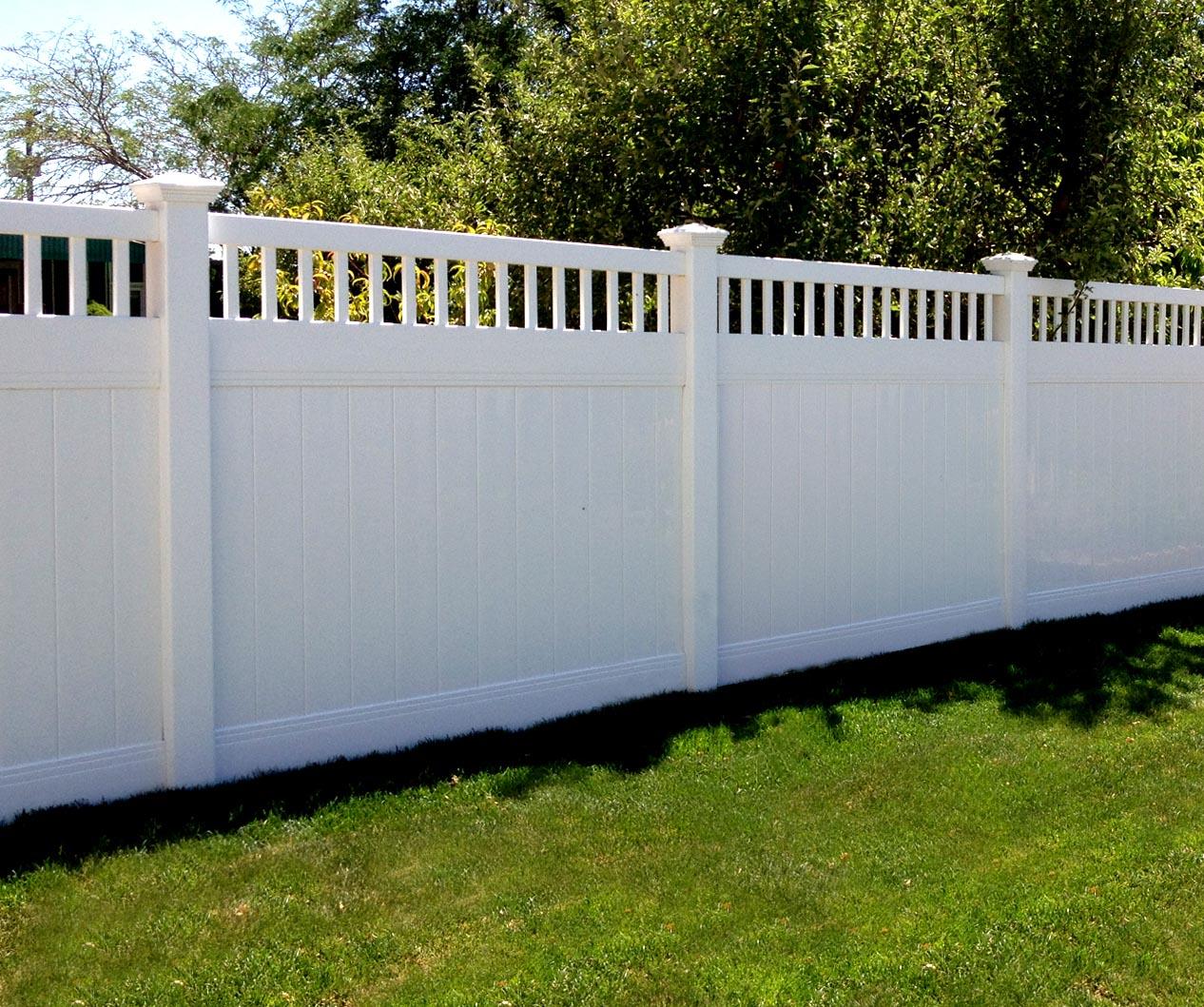 Singleton fence vinylfence 6 accent top white vinyl fence baanklon Images